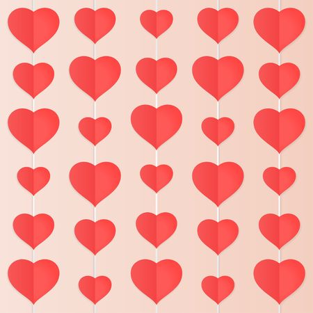 Red paper heart mobile vector  background Çizim