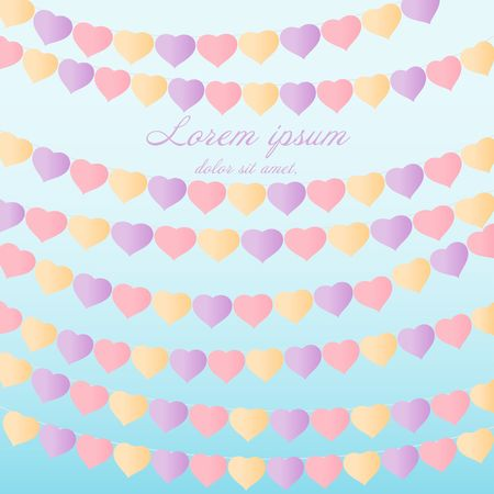 Paper heart shape flags pastel color hanging on blue sky background