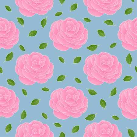 Pink Camellia big motif and small green leaves on light cyan background half drop repeat vector seamless pattern. Illustration