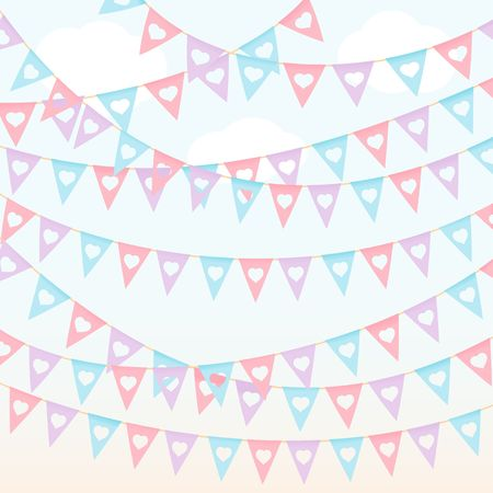 Festival triangle flags pastel color red violet hanging on the blue sky vector background Çizim