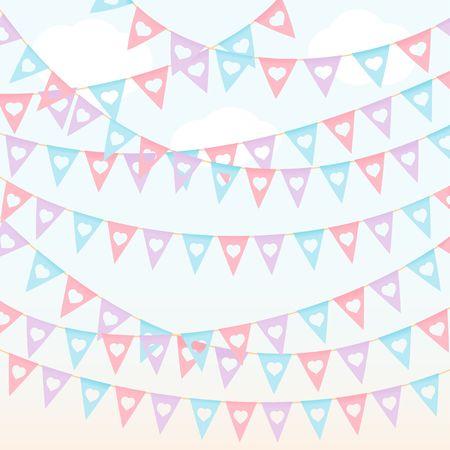 Festival triangle flags pastel color red violet hanging on the blue sky vector background Ilustração