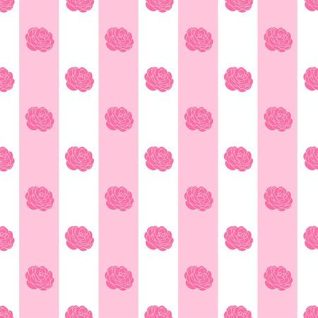 Camellia Flower motif on stripe background pink and white color sweet tone half drop repeat seamless vector pattern