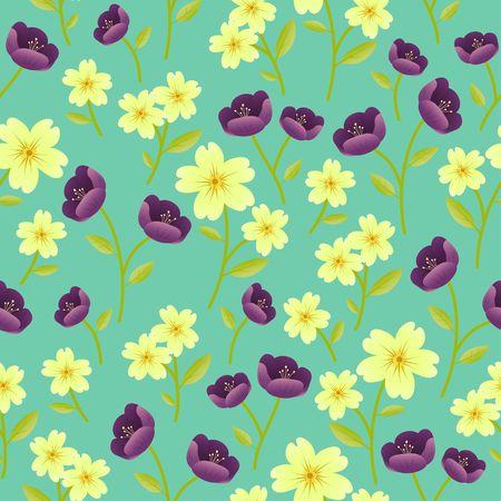 Yellow English Primrose and purple Hellebore flower motifs on green background random repeat seamless vector pattern Ilustração