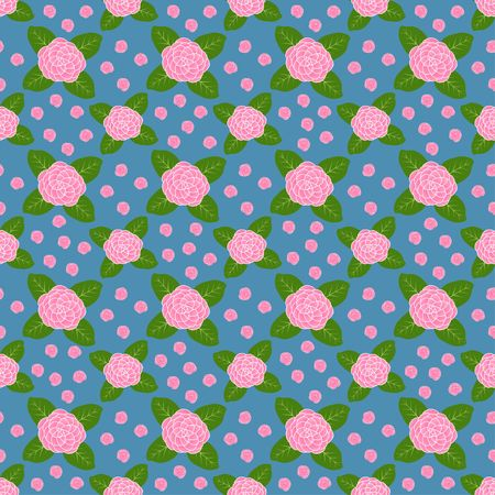 Pink Camellia flower and green leaves on blue background half drop repeat seamless vector pattern design