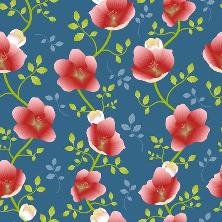 Red Hellebore flower green vine on blue background random repeat seamless vector pattern Иллюстрация
