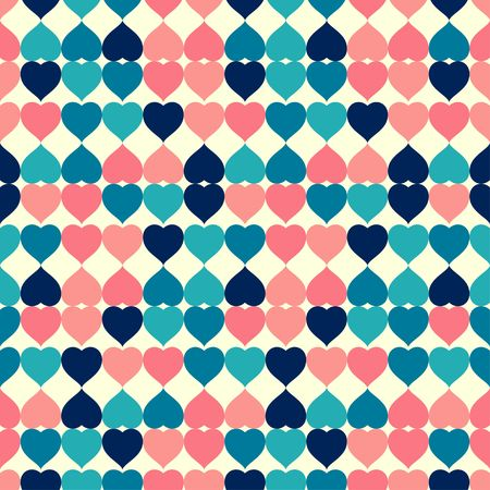 Heart shape colorful retro tile seamless pattern vector background