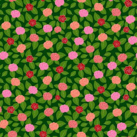 Pink red and orange Camellia flowers on green leaves field, random repeat seamless vector pattern background Illustration