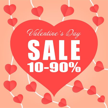 Red paper heart mobile promotion banner clearance sale Valentines day theme vector background