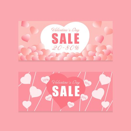 Love Heart pink color tone Valentines day theme promotion banner sale vector background