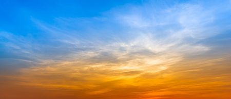 Panorama blue sky and silky cloud golden hour time at morning or evening nature background Фото со стока