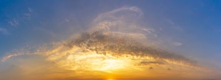 Panorama picture of golden hour morning sky and cloud nature background