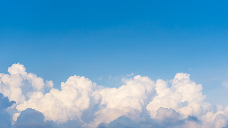 Top of white fuffly clouds and clear blue sky, panorama , copyspace nature picture
