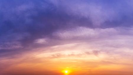 Panorama overcast sky twilight time and sunrise or sunset nature background