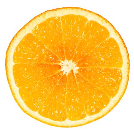 Close up haft ripe orange fruit on white background isolated picture