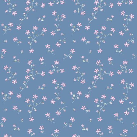 Small pink flower blossom and yellow leave  on blue background random repeat seamless pattern