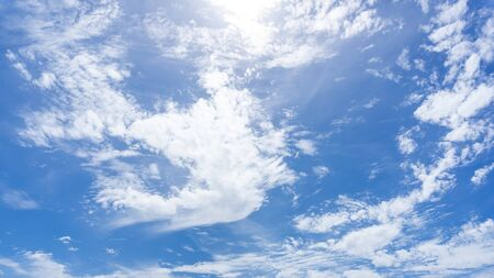 White cloudy blue sky at day time nature panoramic background Stock fotó