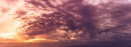 Sstrom cloudy sky in morning and golden hour time nature panoramic background