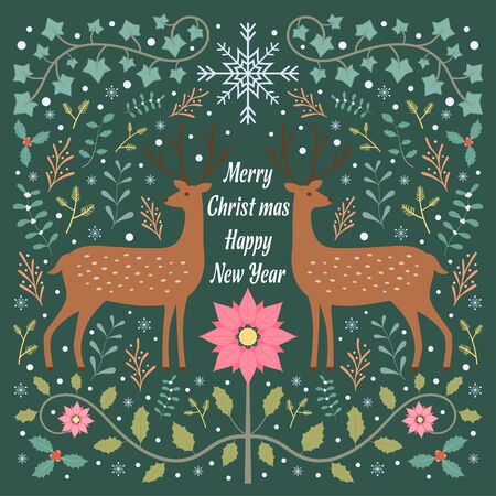 Lovely Deer and flora and snowflake Christmas theme green background scandinavian folk patterns style Stock Illustratie