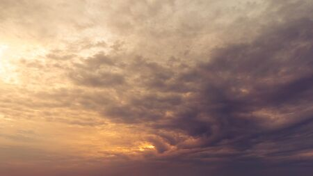 Dramation overcast morning sky cloudy golden hour time nature background Archivio Fotografico - 131400899