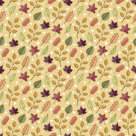 Autumn leaves and white sonw seamless pattern random repeat vector background Ilustrace