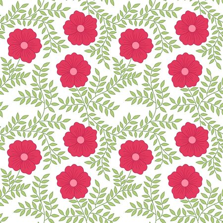 Red bloom flowers and green leaves small branch seamless pattern vector flora background