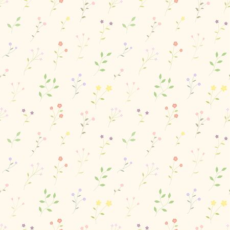 Colorful small flowers garden seamless pattern random repeat vector background