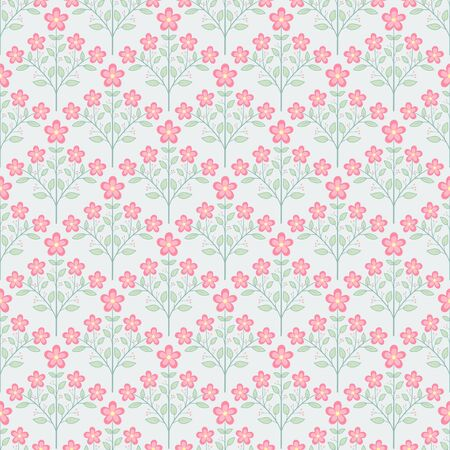 Small pink bloom flowers and green leaves bouquet seamless pattern half drop repeat vector flora background Ilustrace