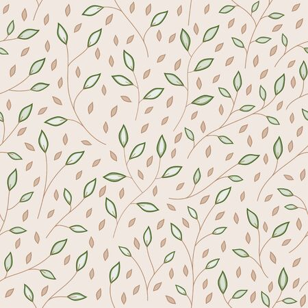 Fall green and brown leaves small branch seamless pattern background vector illustration decorative template texture