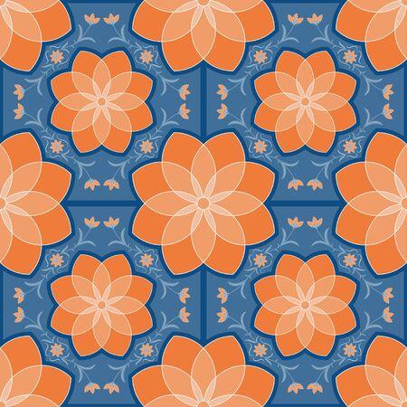 Geometric tiles seamless pattern orange flower and blue background vintage floral wallpaper Ilustrace
