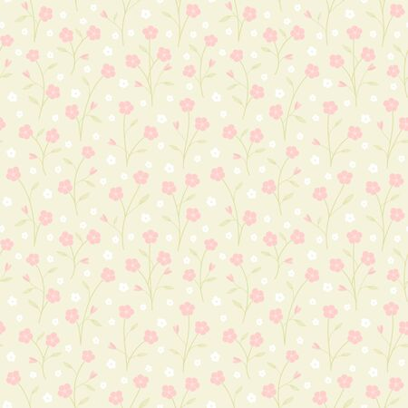 Pink flower and green leaves small branch seamless pattern. Vector floral and leaves background Ilustrace