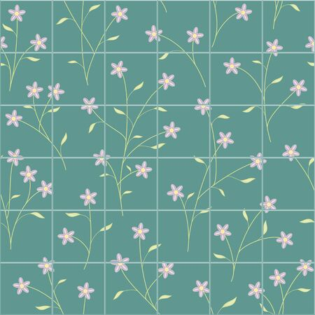 Small green branch and leaves purple flower seamless pattern bathroom tiles vector floral background Ilustrace
