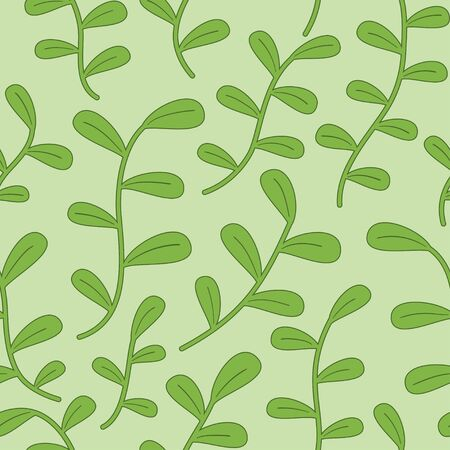 Small green round leaves and stalk seamless pattern vector background