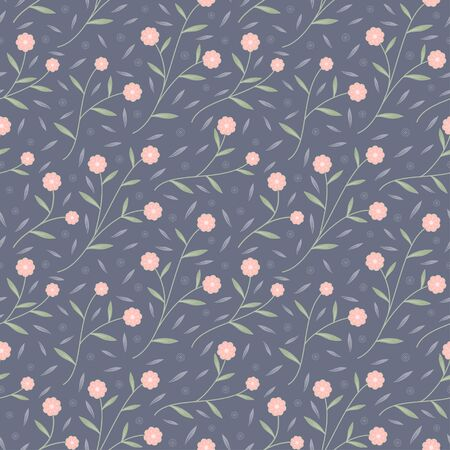 Small pink bloom flower and green leaves seamless pattern vector floral background Ilustrace