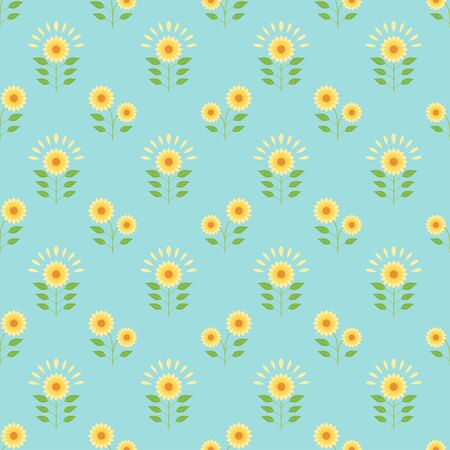 Small sunflower feild and blue background seamless pattern vintage floral vector wallpaper