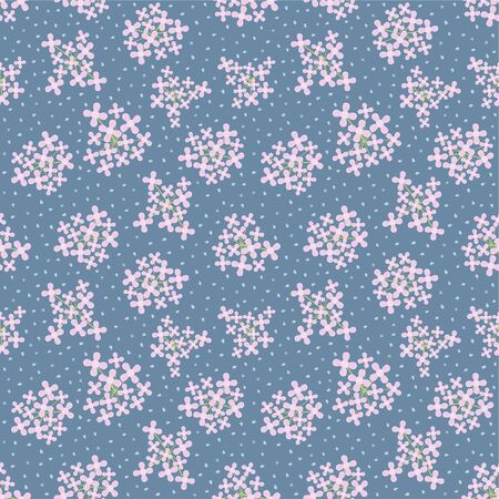 Spring pink flowers bouquet and green branch seamless pattern on blue background vector floral wallpaper