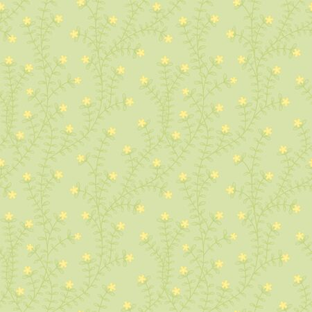 Green ivy leaves and yellow bloom flower seamless pattern vector floral background