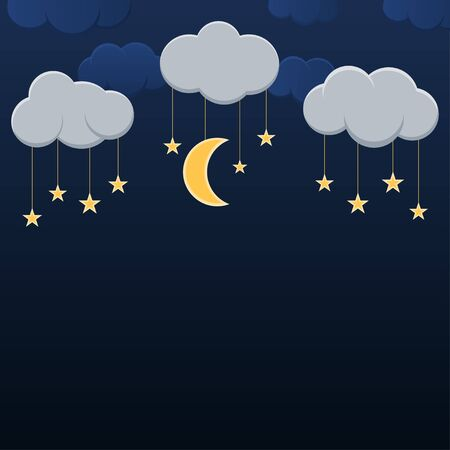 Hanging moblies half moon and star on night sky vector background
