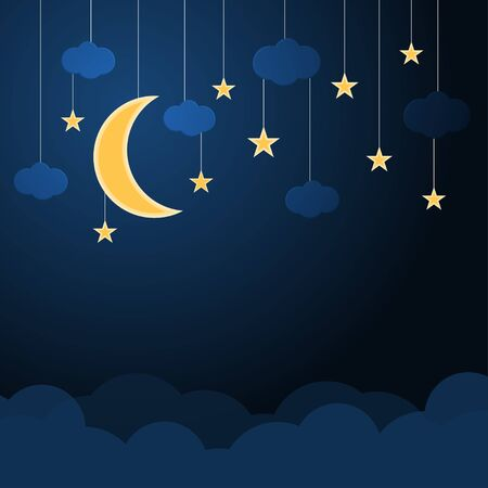 Hanging moblies glowing half moon and star with small clouds on night dark blue sky vector background Ilustrace
