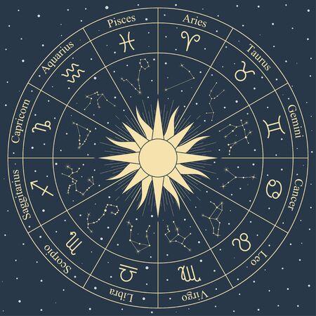 Simboli e costellazione della ruota dello zodiaco dell'oro sul tema dell'oroscopo di astrologia di vettore del fondo dello spazio blu Vettoriali
