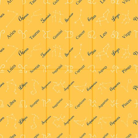 Yellow wrapping paper Zodiac symbols and star theme set seamless pattern vector background Ilustrace
