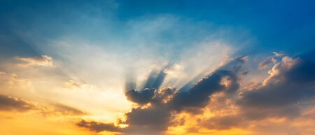 Panorama morning sky with golden sun light and clouds sunrise or sunset scene nature background