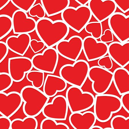 White paper heart shape cutouts on red background seamless pattern love valentines theme