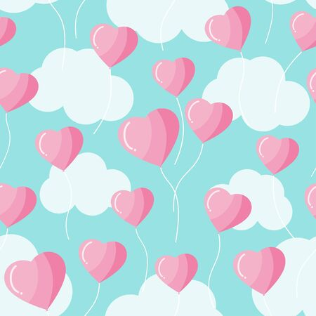 Heart shape balloon on the sky and clouds seamless pattern vector lovely valentines theme background, pink and blue pastel color