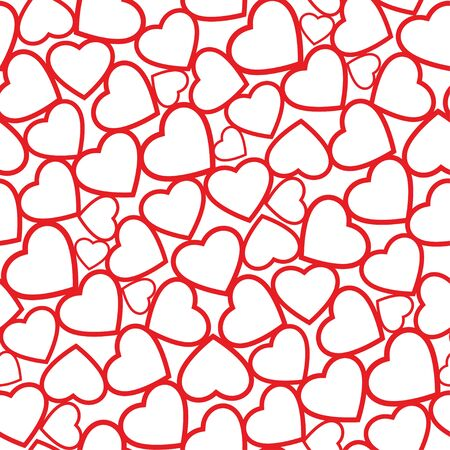 Paper cutouts heart shape red color seamless pattern vector background Ilustrace