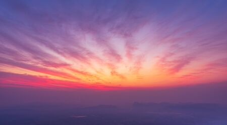 Twilight sky and cloud with sun light view from top of mountain nature background