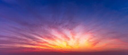 Panorama twilight sky and colorful cloud scape nature background Фото со стока