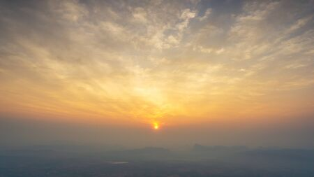 Panoramic view from top of mountain at golden hour time with sunrise or sunset nature background Фото со стока