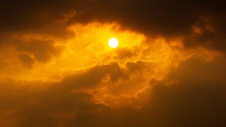 Dramatic cloud orange sky and brightness sun nature background