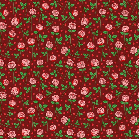 Beautiful pink rose flower seamless pattern nature floral theme background lovely valentine wallpaper