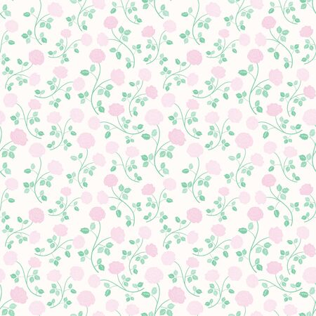Seamless vector pattern pink roses flower and green leaves nature floral background